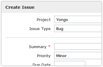 Yongo create issue/ticket